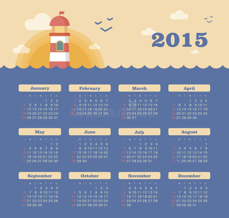 Download Marine Calendar 2015 Year With Lighthouse Stock Vector - Image: 43209115
