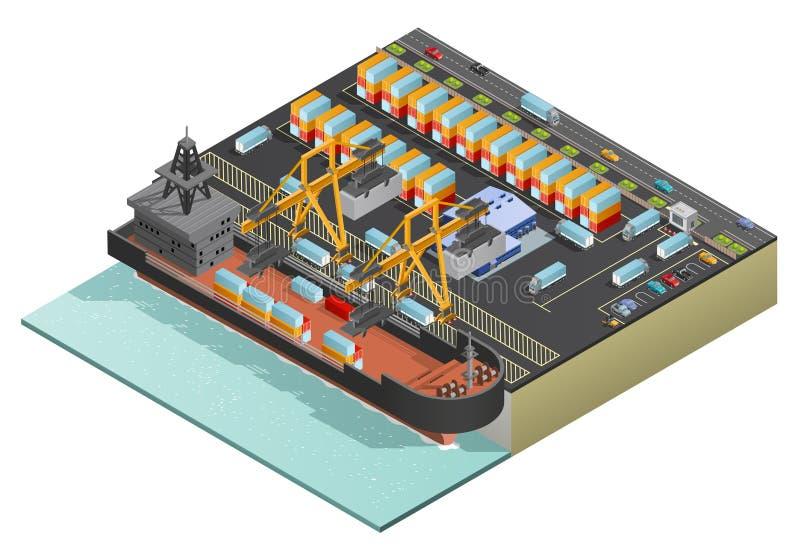 Marine Cargo Transportation isométrica ilustración del vector