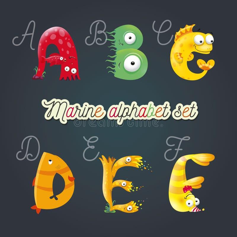 Marine cartoon fun alphabet. Vector illustration, isolated on dark back ground. royalty free illustration