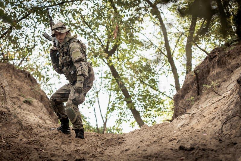 Marine commandos on training groung. Armed young marine commandos on training groung royalty free stock image