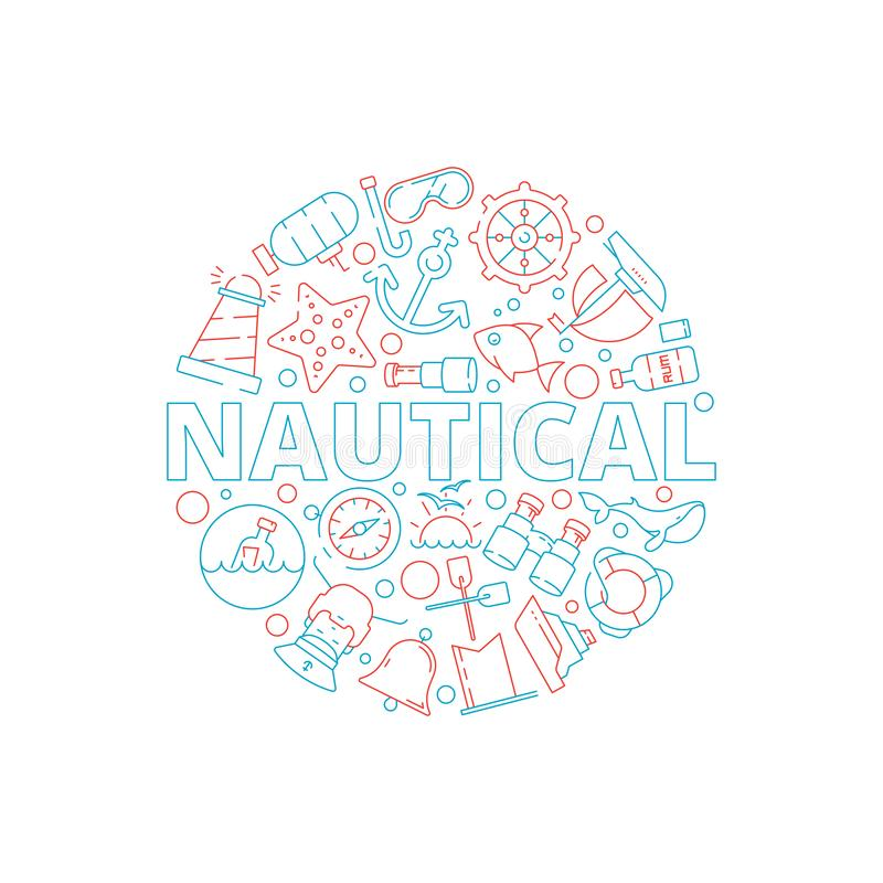 Marine concept. Nautical pictures fish boat sea captain yacht circle shape with marine symbols vector background. Illustration of maritime badge in form circle royalty free illustration
