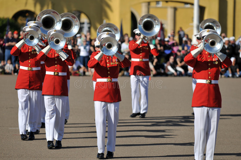 Marine Corps Band. Soldiers of the United States Marine Corps Marching Band stock photo