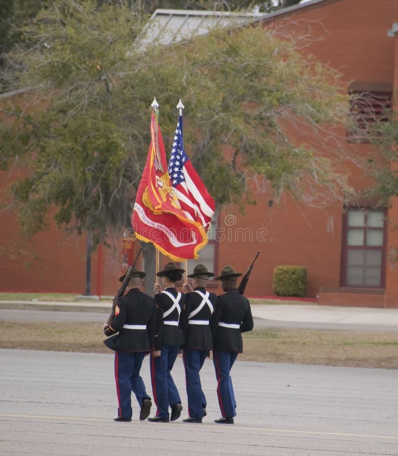 Marine Corps die in Parris Island, Sc lopen stock fotografie