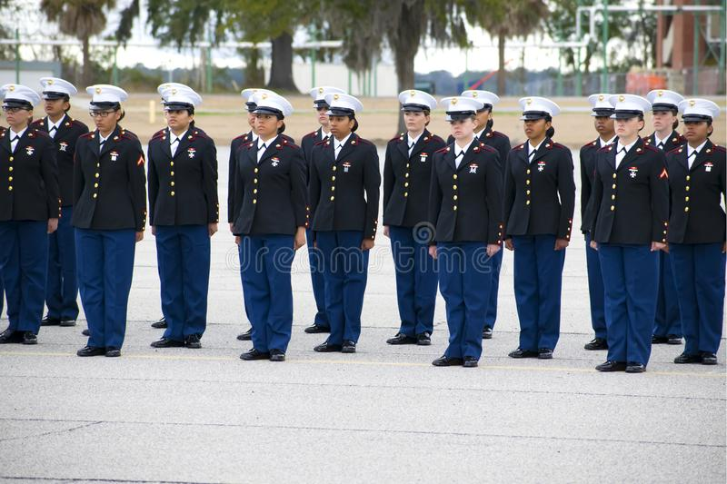 Marine Corps Marine Girls Graduation på Parris Island, South Carolina royaltyfri bild