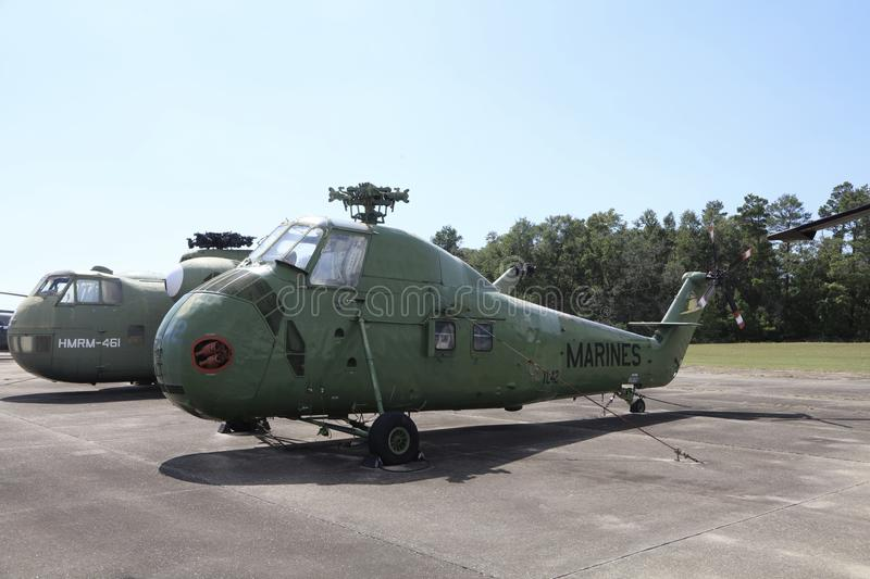 Marine Corps Helicopter Green. United States of America Department of the Navy Marine Corps Helicopter on display outside a museum stock photography