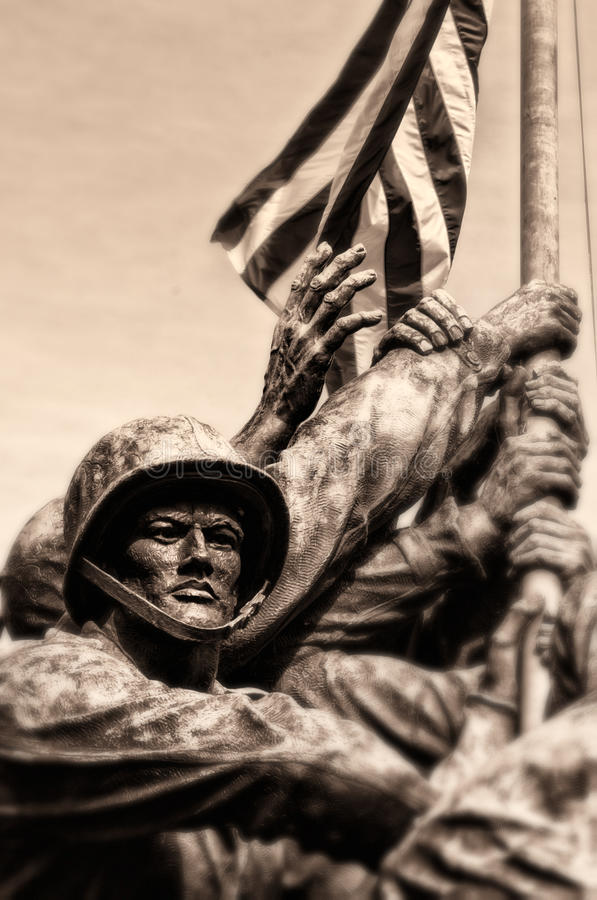 Marine Corps War Memorial. Sepia view of Marine Corps or Iwo Jima war memorial, Arlington National Cemetery, Virginia, U.S.A stock photography