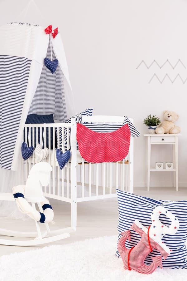 Marine crib bedding set stock images
