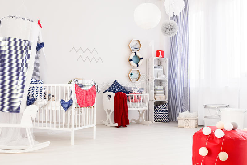 marine decor of a modern baby room stock photo image of