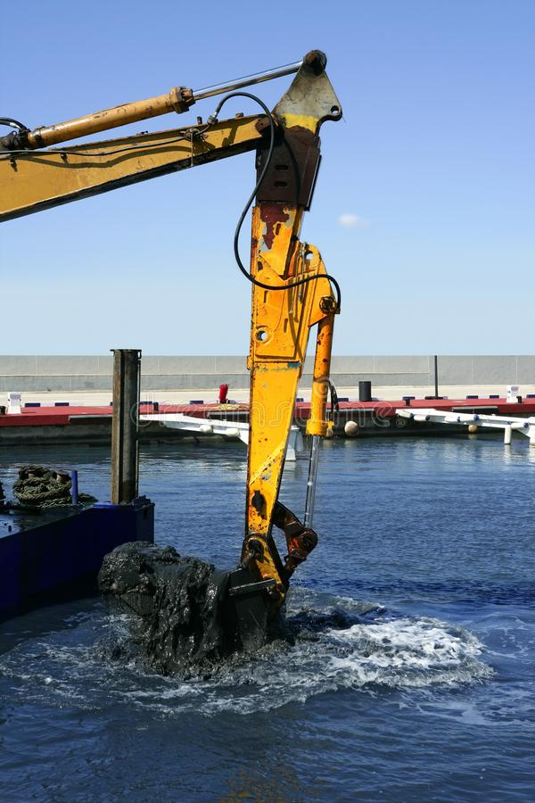 Marine Dredging Digging Sea Bottom Black Mud Stock Images