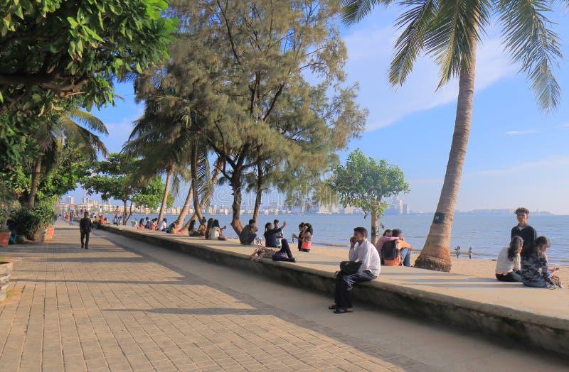 Marine Drive-Küstenstadtbild Mumbai Indien lizenzfreie stockfotos