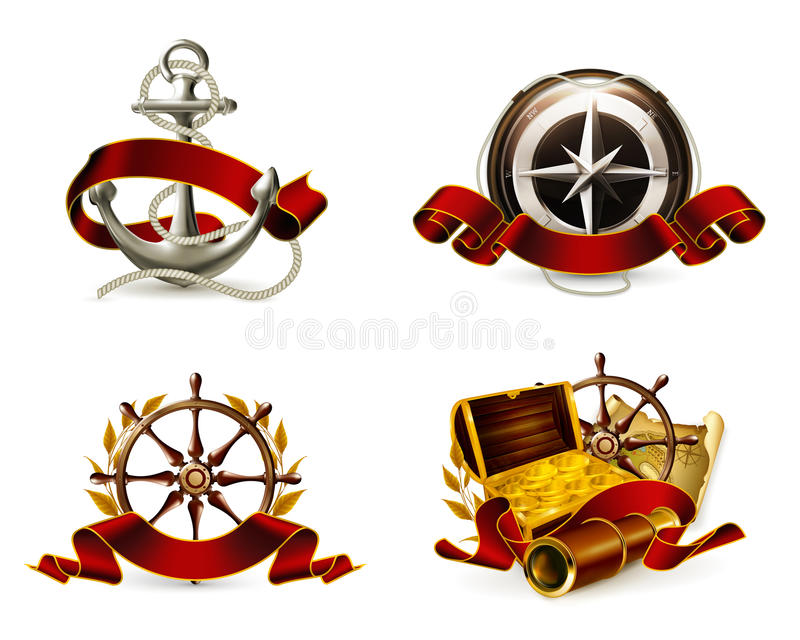 Marine Emblem Set Royalty Free Stock Images