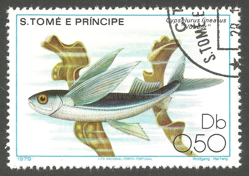 Marine Fauna, Flying Fish. Sao Tome and Principe - stamp 1979, Memorable Edition, Marine Fauna, Series Fish, Flying Fish, Cypselurus lineatus royalty free stock image