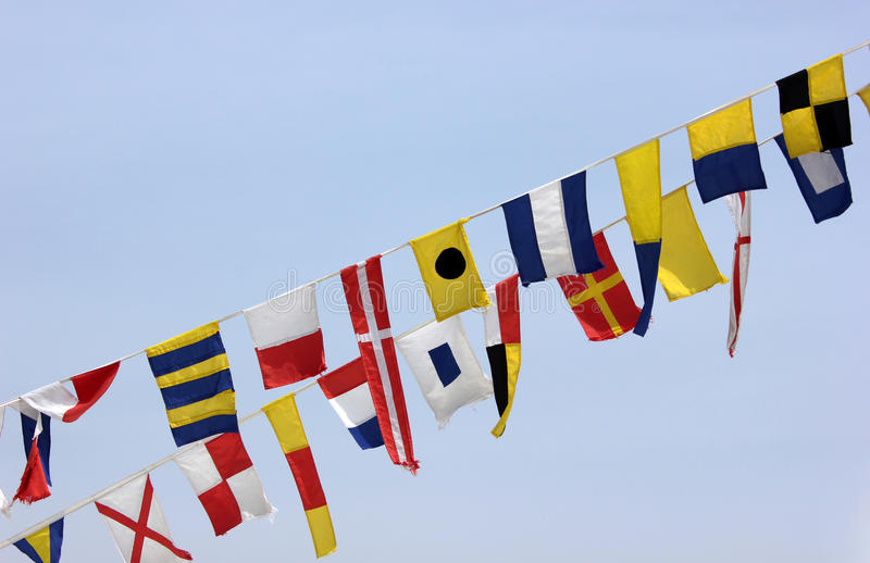 Different maritime signal flags stock image