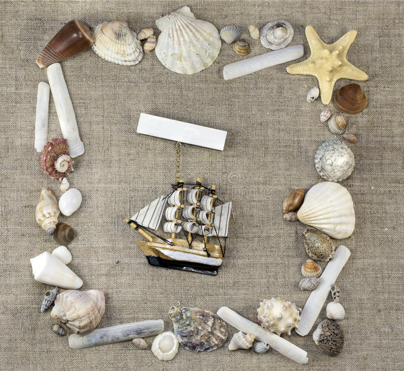 Download Marine frame with ship stock image. Image of seashells - 43017393