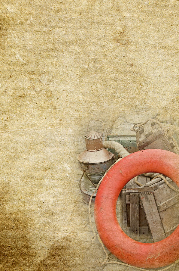 Marine gas lamp, boxes, lifebuoy on the old vintage textured paper background royalty free stock photography