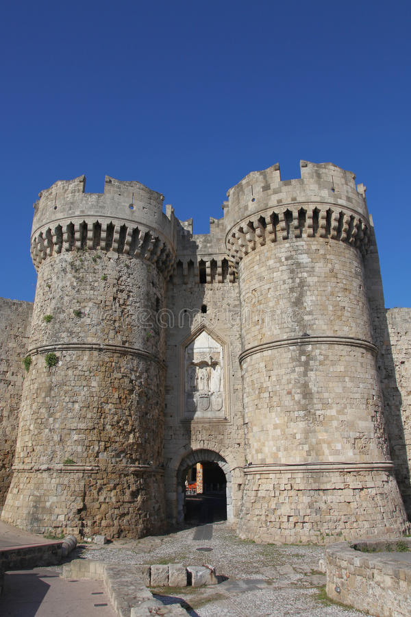 Marine gate into the old town of Rhodes royalty free stock images