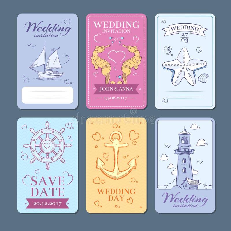Marine, geplaatste de uitnodigingskaarten van het zeereis vectorhuwelijk royalty-vrije illustratie