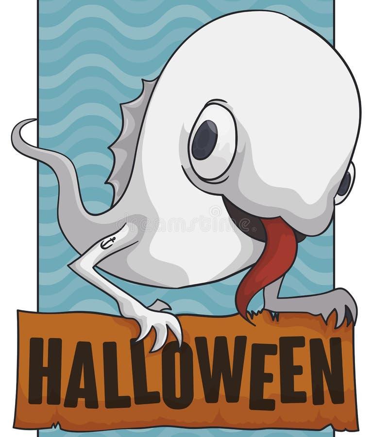Marine Ghost Celebrating Halloween étrange, illustration de vecteur illustration stock