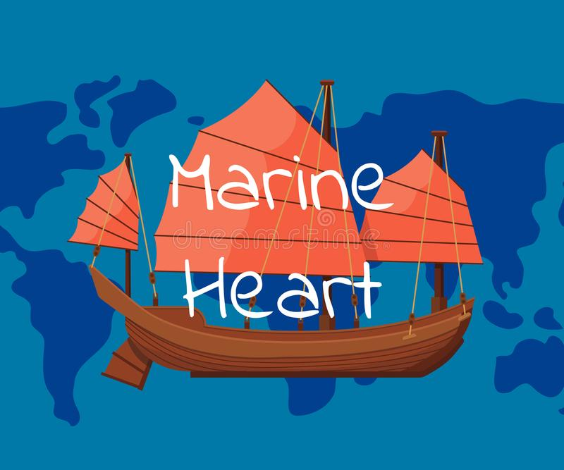 Marine heart poster with ancient oriental boat. On world map background. Outdoor yachting, sailing sport, extreme ocean regatta. Old cruise ship, passenger vector illustration
