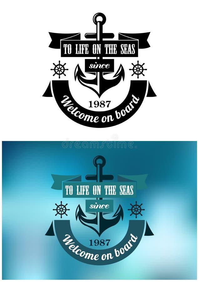 Marine heraldic label stock illustration
