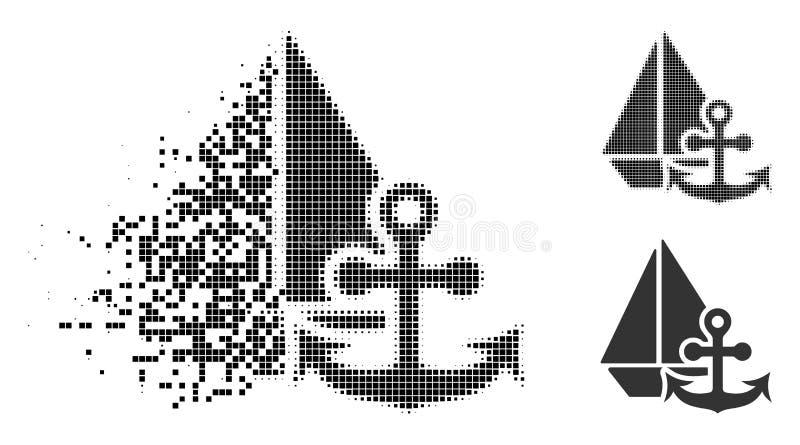 Marine Icon de semitono punteada hecha fragmentos libre illustration