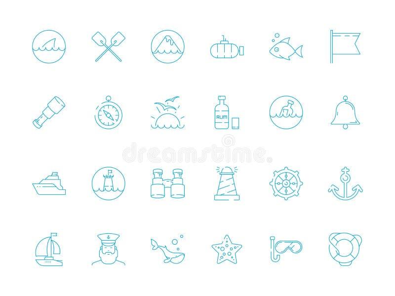 Marine icon. Nautical symbols sailing knot rope sea fish sailing boat ship vector thin pictures. Marine boat and fish, yacht and submarine icons illustration royalty free illustration