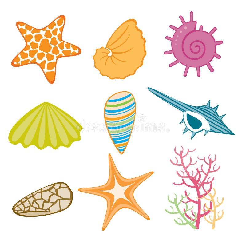 Marine icons. An illustrated set of various marine icons like conches, seashell, starfish & plants, isolated on white background royalty free illustration