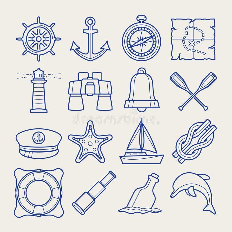 Marine-Icons in dünner Linie lizenzfreie stockbilder