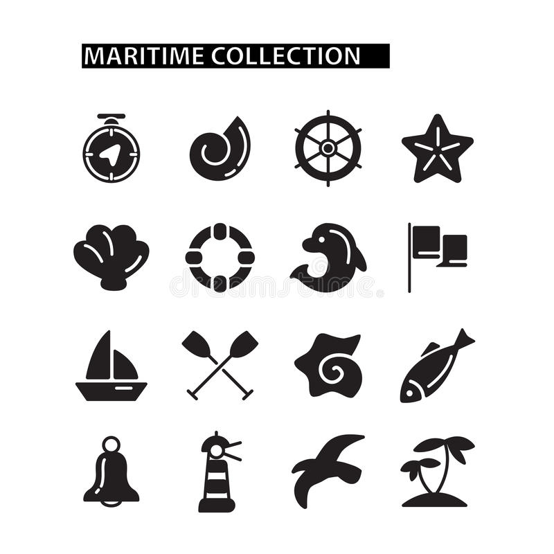 Marine Icons Set stock de ilustración