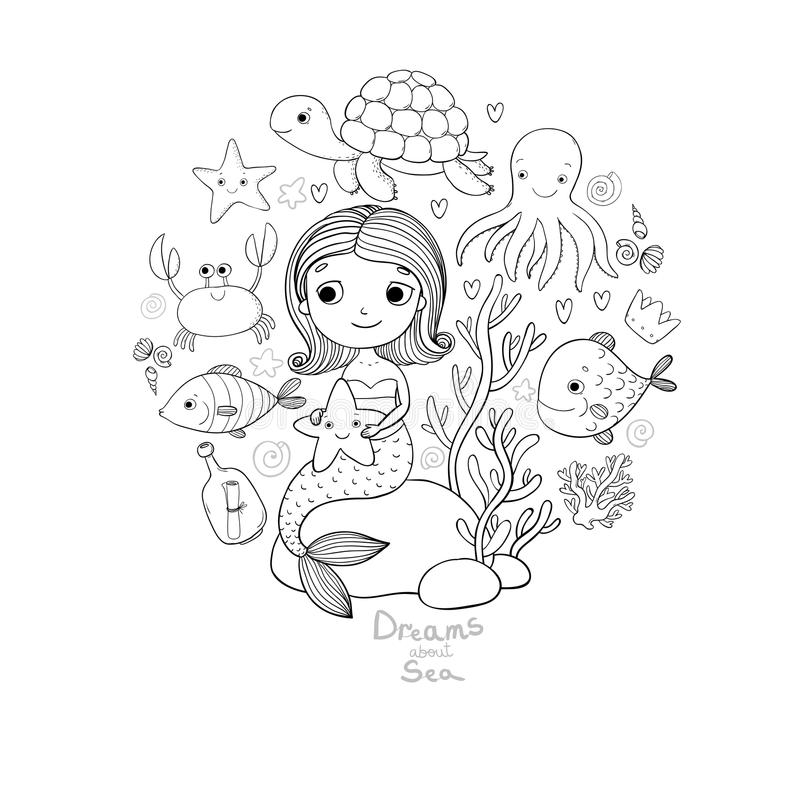 Marine Illustrations Set Liten gullig tecknad filmsjöjungfru, rolig fisk, sjöstjärna, flaska med en anmärkning, alger, olika skal vektor illustrationer