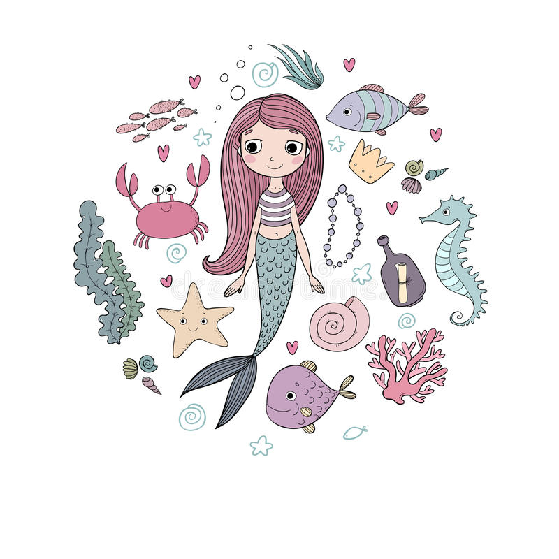 Marine illustrations set. Little cute cartoon mermaid, funny fish, starfish, bottle with a note, algae, various shells. And crab. Sea theme. objects on white royalty free illustration