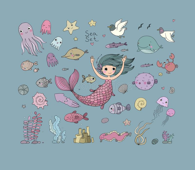 Marine illustrations set. Little cute cartoon mermaid. Funny fish, starfish, bottle with a note, algae, various shells and crab. Sea theme. isolated objects on vector illustration