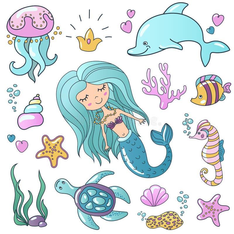 Marine Illustrations Set Peu de sirène mignonne de sirène de bande dessinée, poisson tropical, étoiles de mer de mer, diverses co illustration stock