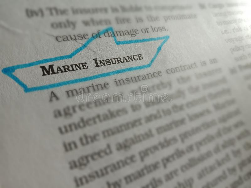 marine insurance transportation related terminology displayed on paper page stock images