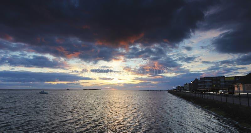 Marine Lake bij Zonsondergang, het Westen Kirby, Engeland, het UK royalty-vrije stock fotografie