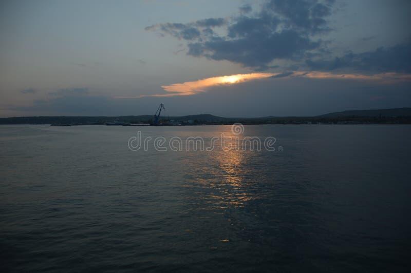 Marine Landscape Black Sea på solnedgången fotografering för bildbyråer