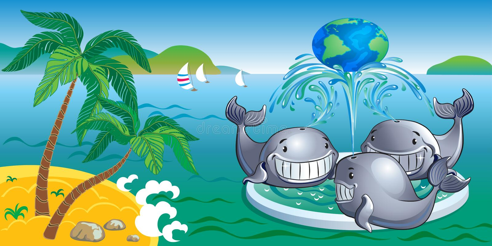 Marine landscape with a fountain whales. Tropical sea landscape with a fountain whales