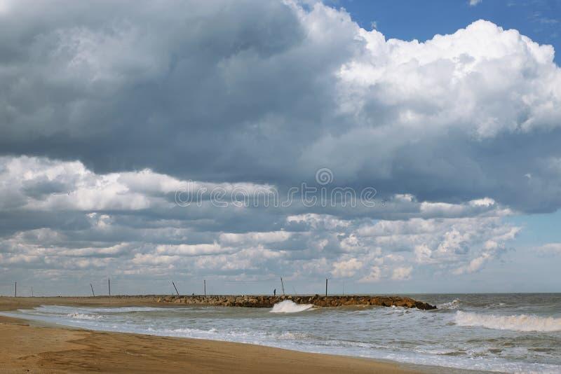 Marine landscape Mar del Plata , Argentina. Beaches in Mar del Plata , Argentina  Fisher in the quay royalty free stock image