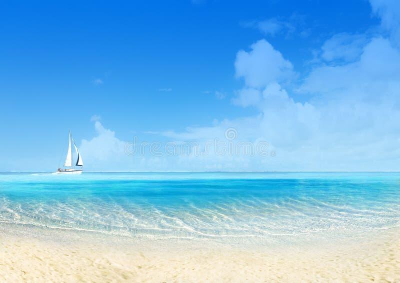 Marine landscape with sailing boat stock photo