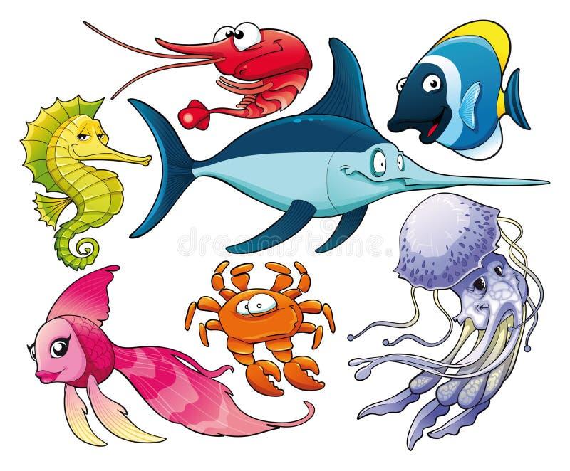 Download Marine life stock vector. Illustration of prawn, jellyfish - 15497297