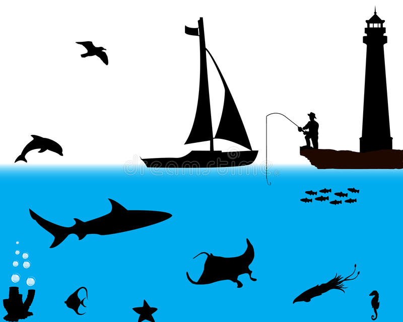 Marine life. Collection of different marine silhouettes royalty free illustration