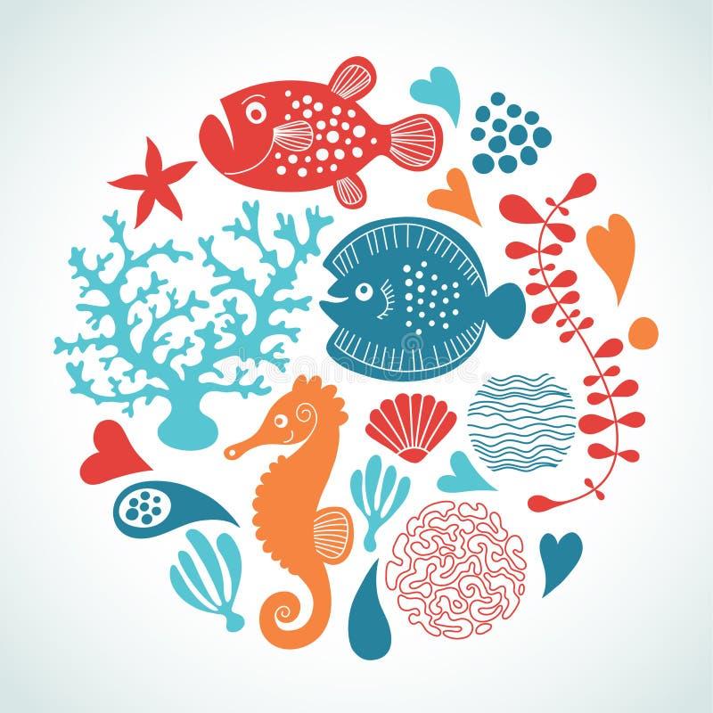 Marine life. Set of marine life in form of round royalty free illustration