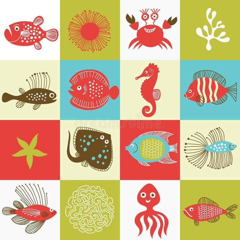 Marine life. Set of fishes and marine life stock illustration