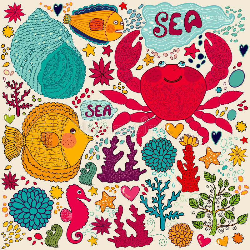 Download Marine life stock vector. Image of life, drawing, funny - 25817830