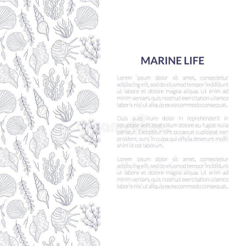 Marine Life Banner Template con il posto per testo ed il modello subacqueo di vita di mare, mondo subacqueo con alga e royalty illustrazione gratis