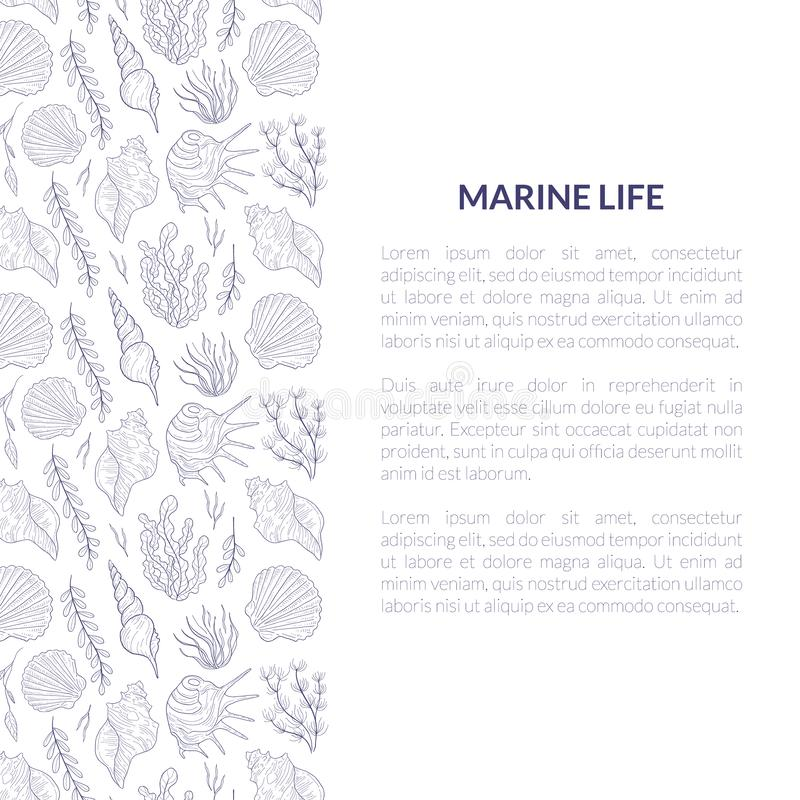 Marine Life Banner Template with Place for Text and Underwater Sea Life Pattern, Undersea World with Seaweed and. Seashells Hand Drawn Vector Illustration royalty free illustration