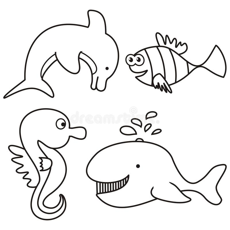Marine life - coloring stock vector. Illustration of funny - 33354922