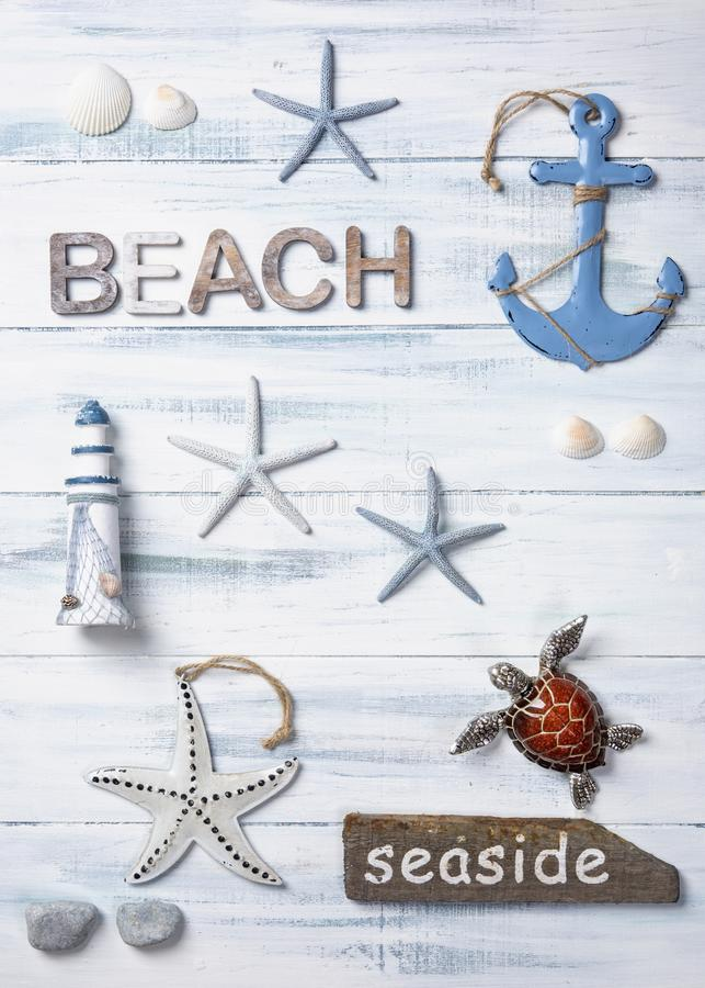 Marine life decoration on a wooden background. Top view stock photo