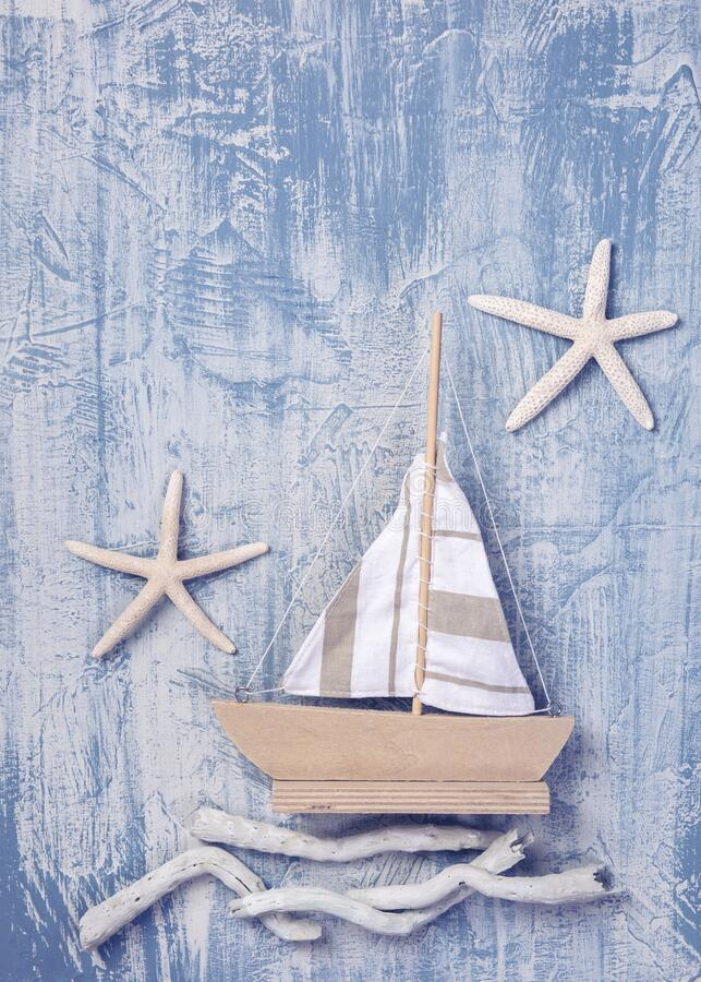 Marine life decoration on a wooden background royalty free stock images