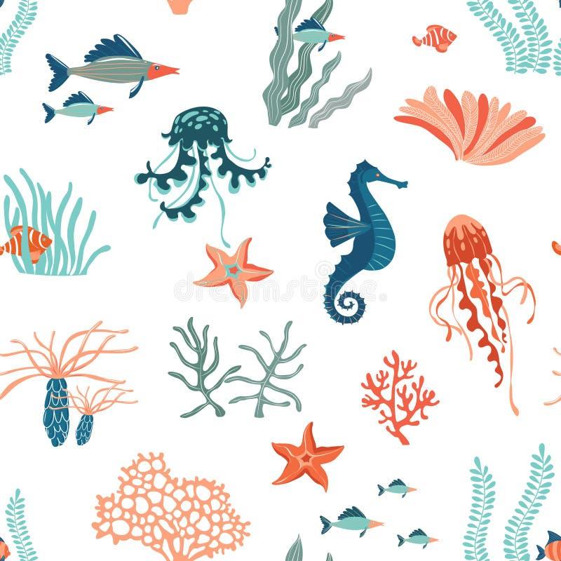 Marine Life flat vector seamless pattern background. Underwater animals wildlife vector illustration